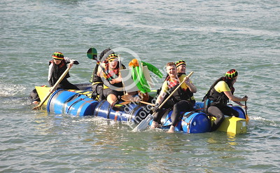 SWANSEA / copyright Adrian White Sunday 31st July 2016 Mumbles Raft Race.. South Wales Evening Post raft.. Usain Boat! BYLINE www.clic4prints.com
