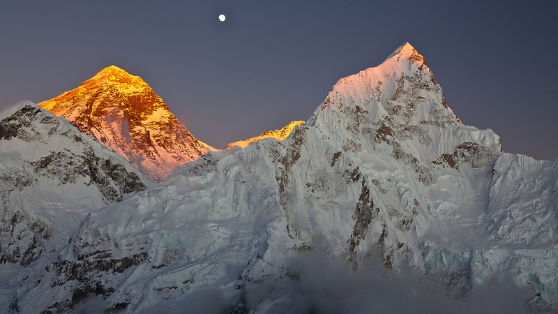 Everest, Lhotse, moonrise from Kala Patar
