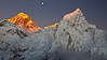 Everest, Lhotse, moonrise from Kala Patar