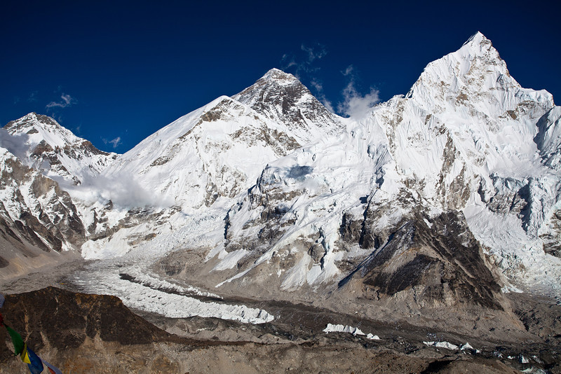 Everest, Lhotse, Kombu valley from Kala Patar, base camp at bottom left beside glacier