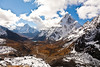 Looking  towards Dzonghla (hidden), Cholatse  on right and Ama Dablam straight ahead<br /> from Cho la