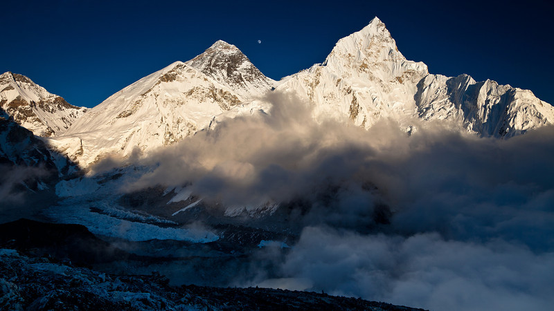 Everest, Lhotse, Kombu valley from Kala Patar