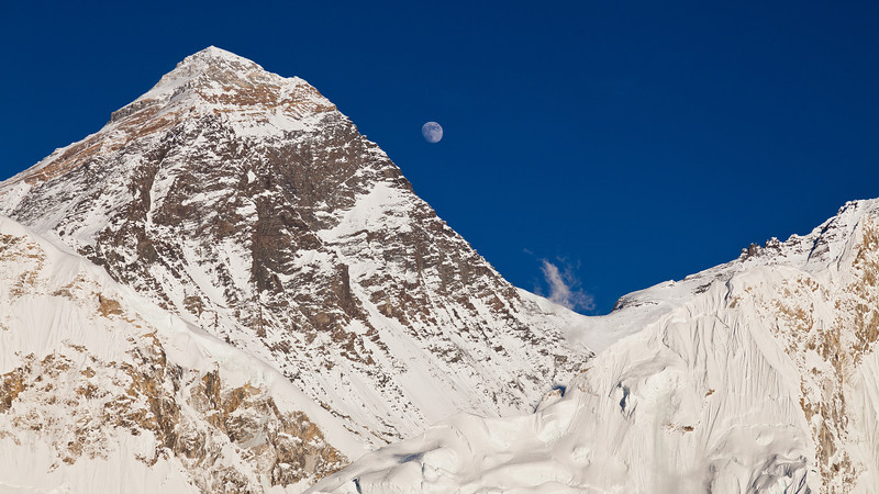 Everest south col moonrise from Kala Patar