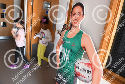 Celtic Dragons netball super league team  Young fans make their way to the sports hall.    Copyright © 2019 by Adrian White  Photography, all rights reserved. For permission to publish - contact me via www.adrianwhitephotography.co.uk Please respect copyright laws.