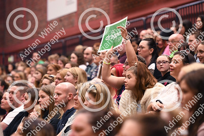 Celtic Dragons netball super league team.  Fans fill the sport hall in Cardiff National Sports Hall.  Copyright © 2019 by Adrian White  Photography, all rights reserved. For permission to publish - contact me via www.adrianwhitephotography.co.uk Please respect copyright laws.