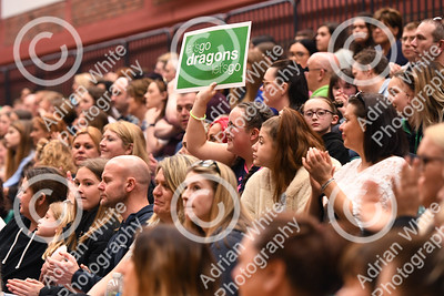 Celtic Dragons netball super league team of professional players talk about their sporting icons.  Fans fill the sport hall in Cardiff National Sports Hall.  Copyright © 2019 by Adrian White  Photography, all rights reserved. For permission to publish - contact me via www.adrianwhitephotography.co.uk Please respect copyright laws.