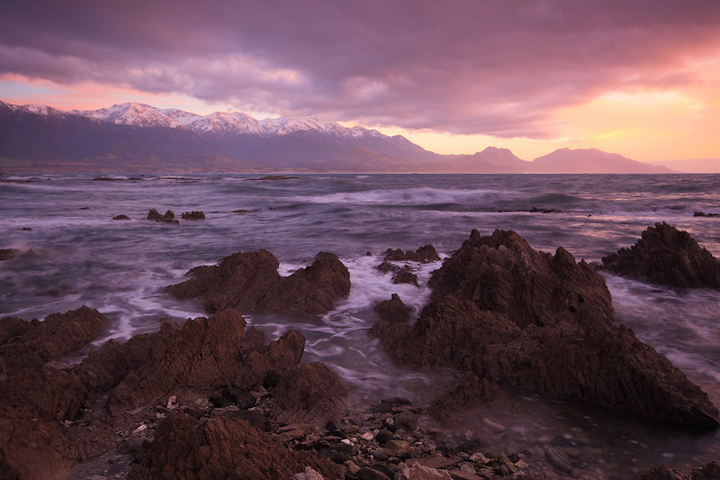 Sunrise, Kaikoura Beach and Seaward Kaikoura Mountains