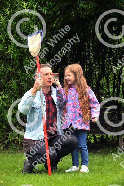 The Brecon Beacons National Park open invitation to join in its 60th Anniversary celebrations at Party in the Park at Craig-y-nos Country Park.  Isabella Organ aged 6 searching for pond life with her dad Tobias.