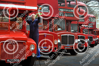 "pic stand alone... Former bus conductor and volunteer at Swansea Bus Museum Nick Dasey dusting down a vintage 1959 London Routemaster, ""The Rolls Royce of buses' he says. Plans are afoot at the end of the year to move the museum exhibits to a proposed new transport museum in Swansea."