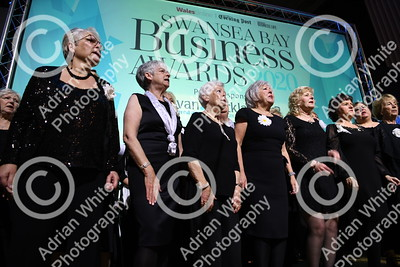 Swansea Bay Business Awards 2020 Brangwyn Hall Swansea.  Tenovus Choir opens this years awards.   Copyright © 2020 by Adrian White  Photography, all rights reserved. For permission to publish - contact me via www.adrianwhitephotography.co.uk Please respect copyright laws.