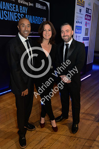 Wales Online Swansea Bay Business Awards at the Brangwyn Hall, Swansea...  Guest speaker Colin Jackson CBE with the BBC's Fran Donovan and South Wales Evening Post Editor Jonathan Roberts.  Copyright © 2018 by Adrian White Photography, all rights reserved. For permission to publish - contact me via www.adrianwhitephotography.co.uk Please respect copyright laws.