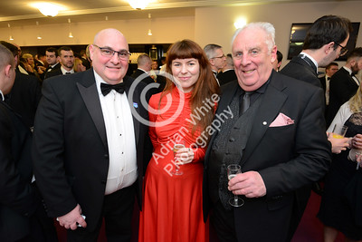 Wales Online Swansea Bay Business Awards at the Brangwyn Hall, Swansea...  Business President Paul Gardner (left) and Business secretary Bruce Roberts with Jen Abell from RNLI Lifeboats.  Copyright © 2018 by Adrian White Photography, all rights reserved. For permission to publish - contact me via www.adrianwhitephotography.co.uk Please respect copyright laws.