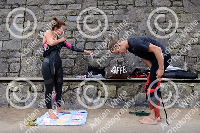 Tenby, West Wales prepares for this year's world renowned Ironman competition... Ironman competitor, Sarah Jones, from Bynea Cycling Club getting ready to swim from North Beach Tenby, pictured with her training partner and boyfriend, Tom Hill.