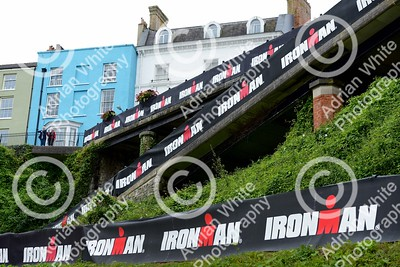 Tenby, West Wales prepares for this year's world renowned Ironman competition... Tenby North Beach prepares.