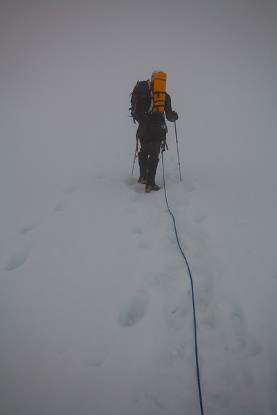 Ascending the glacier in a whiteout