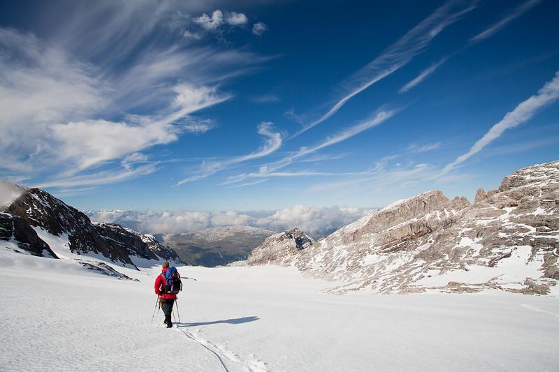 Back down the glacier