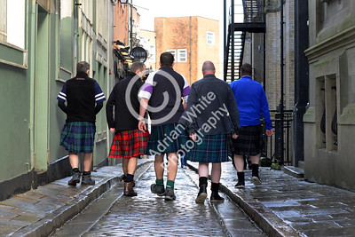 Wales v Scotland - Fans warming up for the match on Wind Street Swansea... ...Scots Go Home