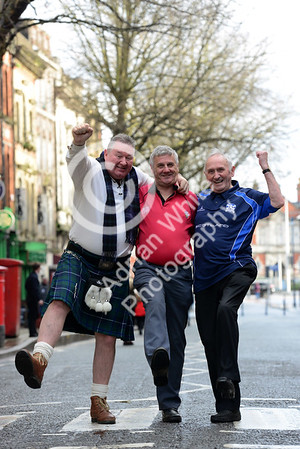 Wales v Scotland - Fans warming up for the match on Wind Street Swansea...