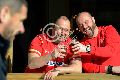 Wales v Scotland - Fans warming up for the match on Wind Street Swansea... Wales fans Chris Davies and Andrew Couch at the Copper Bar.