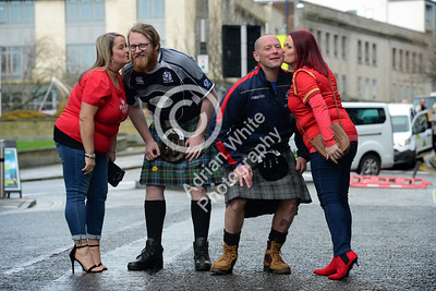 Wales v Scotland - Fans warming up for the match on Wind Street Swansea... from left, Becky John, Jamie Anderson, Ali Fairbairn and Rachel Hughes.