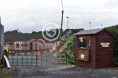 Club Rugby in Wales... Llanybydder RFC - Club Chairman Mike Wilson at the gates to the ground.