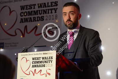West Wales Community Awards 2018 at Parc y Scarlets, Llanelli. Editor Jonathan Roberts opening the awards. PLEASE BYLINE.. adrianwhitephotography.co.uk  Copyright © 2018 by Adrian White  Photography, all rights reserved. For permission to publish - contact me via www.adrianwhitephotography.co.uk Please respect copyright laws.