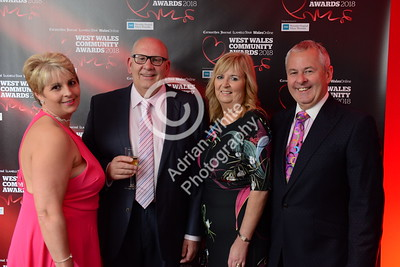 West Wales Community Awards 2018 at Parc y Scarlets, Llanelli. From left, Louise Davies, and Alan Davies with Mike and Helen Eckley   PLEASE BYLINE.. adrianwhitephotography.co.uk  Copyright © 2018 by Adrian White  Photography, all rights reserved. For permission to publish - contact me via www.adrianwhitephotography.co.uk Please respect copyright laws.