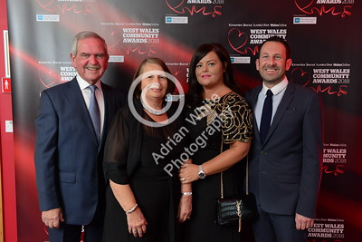 West Wales Community Awards 2018 at Parc y Scarlets, Llanelli. From left, Rory Howells, Sandra Protheroe with Emma and Simon Howells  PLEASE BYLINE.. adrianwhitephotography.co.uk  Copyright © 2018 by Adrian White  Photography, all rights reserved. For permission to publish - contact me via www.adrianwhitephotography.co.uk Please respect copyright laws.