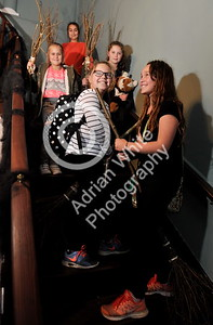 SWANSEA / Copyright Adrian White Tuesday 25th October 2016 Stouthall Country Mansion School of Witchcraft and Wizardry, Reynoldston, South Gower... Grace Taylor aged 10 (centre)  joins the broomstick aviation class on the stairs of Stouthall. BYLINE www.click4prints.com
