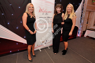 SWANSEA / Copyright Adrian White Friday 7th October 2016 Woman in Business Awards 2016, The Marriot Hotel. Blanche Sainsbury, Melenie Walters and Lisa Cameron.
