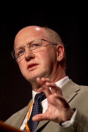 """San Antonio, TX -SABCS 2007: Mitchell Dowsett, PhD of Institute of Cancer Research/Royal Marsden NHS Trust London, United Kingdom presents a paper on """"Biomarking the oestrogen dependence of breast cancer"""" during the William L. McGuire Memorial Lecture at the San Antonio Breast Cancer Symposium here today, Friday December 14, 2007 in the Henry Gonzalez Convention Center. Over 8,000 physicians, researchers, clinicians, caregivers and cancer survivors from over 60 countries gathered to hear the latest developments in Breast Cancer research and treatment. Date: Friday December 14, 2007 Photo by © SABCS/Todd Buchanan 2007 Technical Questions: todd@toddbuchanan.com; Phone: 612-226-5154."""