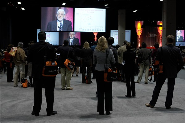"""San Antonio, TX -SABCS 2007: L to R: Stephen Stein, of Glaxo-SmithKline, announces the McGuire award to Dr. Mitchell Dowsett, of Institute of Cancer Research/Royal Marsden NHS Trust London, United Kingdom. Dowsett presented his paper on """"Biomarking the oestrogen dependence of breast cancer"""" during the William L. McGuire Memorial Lecture at the San Antonio Breast Cancer Symposium here today, Friday December 14, 2007 in the Henry Gonzalez Convention Center. Over 8,000 physicians, researchers, clinicians, caregivers and cancer survivors from over 60 countries gathered to hear the latest developments in Breast Cancer research and treatment. Date: Friday December 14, 2007 Photo by © SABCS/Todd Buchanan 2007 Technical Questions: todd@toddbuchanan.com; Phone: 612-226-5154."""