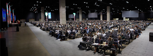 San Antonio, TX -SABCS 2007: Attendees gather at the San Antonio Breast Cancer Symposium here today, Friday December 14, 2007 in the Henry Gonzalez Convention Center. Over 8,000 physicians, researchers, clinicians, caregivers and cancer survivors from over 60 countries gathered to hear the latest developments in Breast Cancer research and treatment. Date: Friday December 14, 2007 Photo by © SABCS/Todd Buchanan 2007 Technical Questions: todd@toddbuchanan.com; Phone: 612-226-5154.