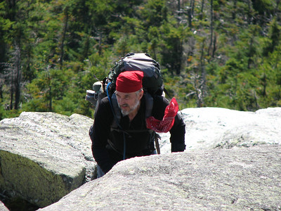 Loose Bruce navigating Baldpate Mountain (East Peak)