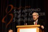 San Antonio, TX - SABCS 2008 San Antonio Breast Cancer Symposium: Dr. Ray DuBois, President of AACR, addresses the opening session at the 2008 San Antonio Breast Cancer Symposium here today, Thursday December 11, 2008. Over 8,000 Physicians, researchers and healthcare professionals from over 50 countries attended the meeting which features the latest research on Breast Cancer Treatment and Prevention. Date: Thursday December 11, 2008 Photo by © SABCS/Todd Buchanan 2008 Technical Questions: todd@toddbuchanan.com; Phone: 612-226-5154.