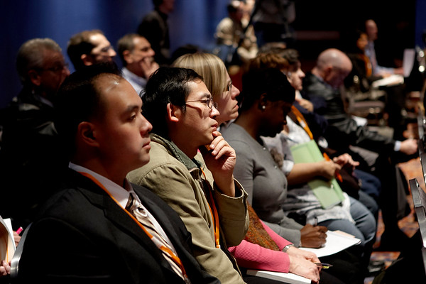 San Antonio, TX - SABCS 2008 San Antonio Breast Cancer Symposium: Attendees listen to the Education sessions at the 2008 San Antonio Breast Cancer Symposium here today, Wednesday December 10, 2008. Over 8,000 Physicians, researchers and healthcare professionals from over 50 countries attended the meeting which features the latest research on Breast Cancer Treatment and Prevention. Date: Wednesday December 10, 2008 Photo by © SABCS/Todd Buchanan 2008 Technical Questions: todd@toddbuchanan.com; Phone: 612-226-5154.
