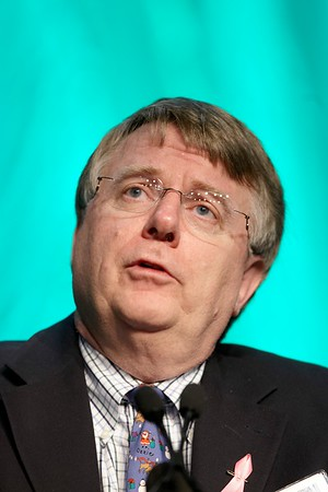 San Antonio, TX - SABCS 2008 San Antonio Breast Cancer Symposium: Gordon B. Mills, MD, PhD of UT MD Anderson Cancer Center Houston, TX addresses the MOLECULAR PROFILING FOR GUIDING THERAPEUTIC DECISIONS  session at the 2008 San Antonio Breast Cancer Symposium here today, Friday December 12, 2008. Over 8,000 Physicians, researchers and healthcare professionals from over 50 countries attended the meeting which features the latest research on Breast Cancer Treatment and Prevention. Date: Friday December 12, 2008 Photo by © SABCS/Todd Buchanan 2008 Technical Questions: todd@toddbuchanan.com; Phone: 612-226-5154.