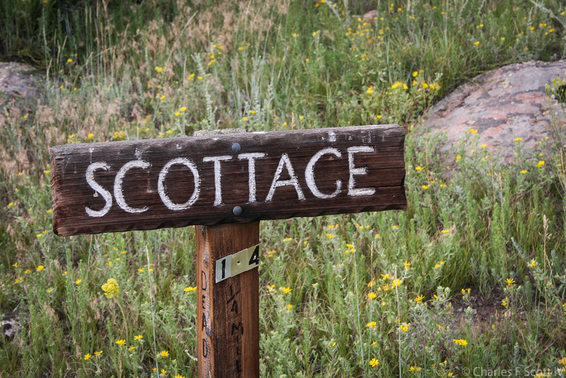 The sign leading the way to the Scottage