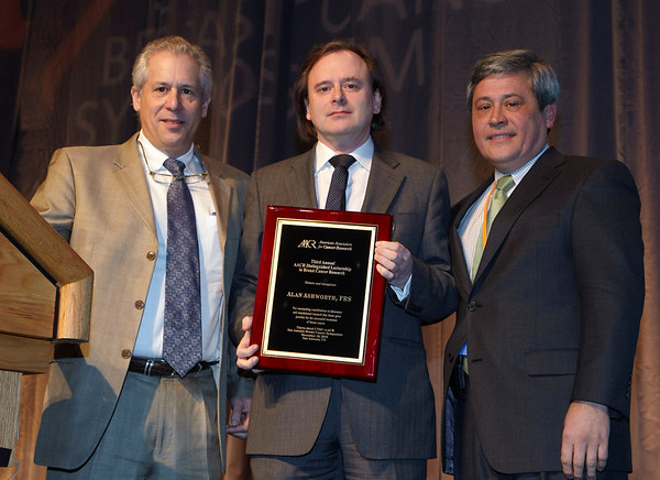 San Antonio, TX - SABCS 2010 San Antonio Breast Cancer Symposium: Alan Ashworth, PhD, FMedSci, FRS receives the AACR Distinguished Lectureship in Breast Cancer Research at the 2010 San Antonio Breast Cancer Symposium here today, Friday December 10, 2010. Over 9,000 physicians, researchers, patient advocates and healthcare professionals from over 90 countries attended the meeting which features the latest research on breast cancer treatment and prevention. Date: Friday December 10, 2010 Photo by © SABCS/Todd Buchanan 2010 Technical Questions: todd@medmeetingimages.com; Phone: 612-226-5154.