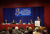 San Antonio, TX - SABCS 2010 San Antonio Breast Cancer Symposium: Dr. Robert E Coleman addresses the Press Conference - The ASZURE Trial: Bisphosphonates at the 2010 San Antonio Breast Cancer Symposium here today, Thursday December 9, 2010. Over 9,000 physicians, researchers, patient advocates and healthcare professionals from over 90 countries attended the meeting which features the latest research on breast cancer treatment and prevention. Date: Thursday December 9, 2010 Photo by © SABCS/Todd Buchanan 2010 Technical Questions: todd@medmeetingimages.com; Phone: 612-226-5154.