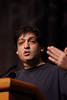 San Antonio, TX - SABCS 2010 San Antonio Breast Cancer Symposium: Dan Ariely, PhD addresses the Plenary Lecture 3 session at the 2010 San Antonio Breast Cancer Symposium here today, Saturday December 11, 2010. Over 9,000 physicians, researchers, patient advocates and healthcare professionals from over 90 countries attended the meeting which features the latest research on breast cancer treatment and prevention. Date: Saturday December 11, 2010 Photo by © SABCS/Todd Buchanan 2010 Technical Questions: todd@medmeetingimages.com; Phone: 612-226-5154.