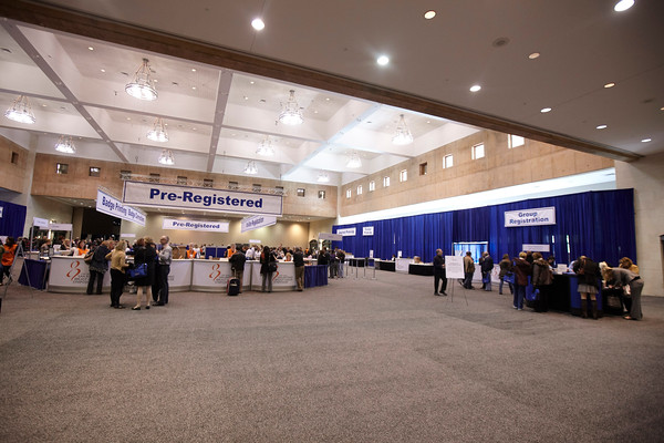 San Antonio, TX - SABCS 2010 San Antonio Breast Cancer Symposium: General Views of Registration at the 2010 San Antonio Breast Cancer Symposium here today, Wednesday December 8, 2010. Over 9,000 physicians, researchers, patient advocates and healthcare professionals from over 90 countries attended the meeting which features the latest research on breast cancer treatment and prevention. Date: Wednesday December 8, 2010 Photo by © SABCS/Todd Buchanan 2010 Technical Questions: todd@toddbuchanan.com; Phone: 612-226-5154.