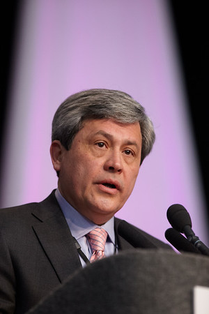 San Antonio, TX - SABCS 2011 San Antonio Breast Cancer Symposium: Carlos L. Arteaga, MD welcomes attendees during the Opening Session at the 2011 San Antonio Breast Cancer Symposium here today, Wednesday December 7, 2011. Over 9,000 physicians, researchers, patient advocates and healthcare professionals from over 90 countries attended the meeting which features the latest research on breast cancer treatment and prevention. Date: Wednesday December 7, 2011 Photo by © SABCS/Todd Buchanan 2011 Technical Questions: todd@medmeetingimages.com; Phone: 612-226-5154.