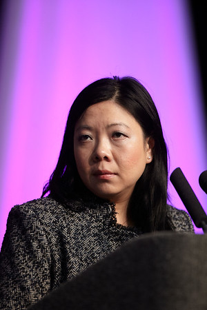 San Antonio, TX - SABCS 2011 San Antonio Breast Cancer Symposium: MCU Cheang discusses S5-2. PAM50 HER2-enriched subtype enriches for tumor response to neoadjuvant anthracyclines/taxane and trastuzumab/taxane containing regimens in HER2-positive breast cancer during the General Session 5 at the 2011 San Antonio Breast Cancer Symposium here today, Friday December 9, 2011. Over 9,000 physicians, researchers, patient advocates and healthcare professionals from over 90 countries attended the meeting which features the latest research on breast cancer treatment and prevention. Date: Friday December 9, 2011 Photo by © SABCS/Todd Buchanan 2011 Technical Questions: todd@medmeetingimages.com; Phone: 612-226-5154.