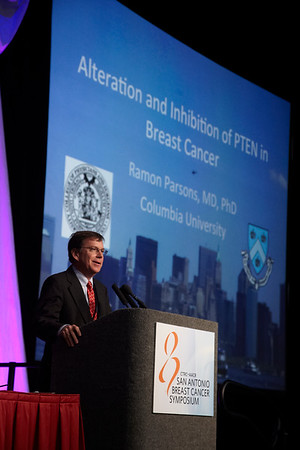 San Antonio, TX - SABCS 2011 San Antonio Breast Cancer Symposium: Ramon E. Parsons, MD, PhD  discusses Alteration and Inhibition of PTEN in Breast Cancer  during the AACR Outstanding Investigator Award For Breast Cancer Research, Funded By Susan G. Komen For The Cure at the 2011 San Antonio Breast Cancer Symposium here today, Friday December 9, 2011. Over 9,000 physicians, researchers, patient advocates and healthcare professionals from over 90 countries attended the meeting which features the latest research on breast cancer treatment and prevention. Date: Friday December 9, 2011 Photo by © SABCS/Todd Buchanan 2011 Technical Questions: todd@medmeetingimages.com; Phone: 612-226-5154.