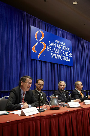 San Antonio, TX - SABCS 2011 San Antonio Breast Cancer Symposium: Volker Moebus discusses his research during the Press Conference at the 2011 San Antonio Breast Cancer Symposium here today, Wednesday December 7, 2011. Over 9,000 physicians, researchers, patient advocates and healthcare professionals from over 90 countries attended the meeting which features the latest research on breast cancer treatment and prevention. Date: Wednesday December 7, 2011 Photo by © SABCS/Todd Buchanan 2011 Technical Questions: todd@medmeetingimages.com; Phone: 612-226-5154.