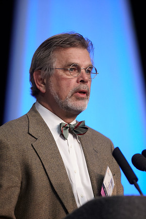 San Antonio, TX - SABCS 2011 San Antonio Breast Cancer Symposium: Robert A. Hiatt, MD, PhD discusses Environ exposures, epigenetics & epidemiology influence of environmental factors on pubertal maturation and breast cancer etiology  during the Mini-Symposium 2 at the 2011 San Antonio Breast Cancer Symposium here today, Thursday December 8, 2011. Over 9,000 physicians, researchers, patient advocates and healthcare professionals from over 90 countries attended the meeting which features the latest research on breast cancer treatment and prevention. Date: Thursday December 8, 2011 Photo by © SABCS/Todd Buchanan 2011 Technical Questions: todd@medmeetingimages.com; Phone: 612-226-5154.