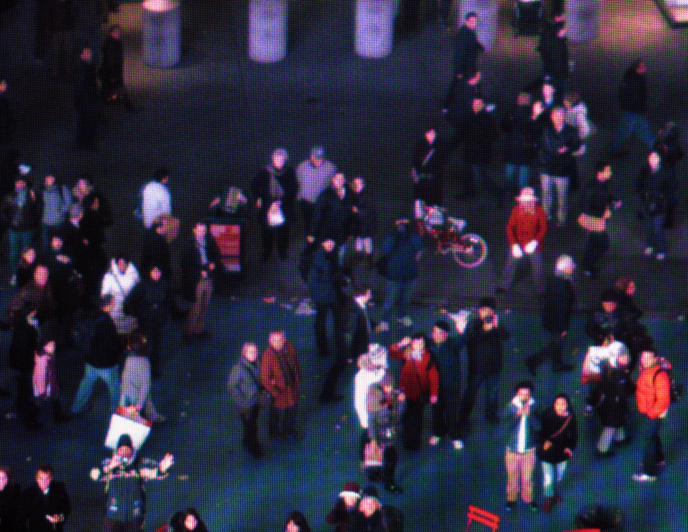 This is off a screen showing live video of the street.  Try and spot me.
