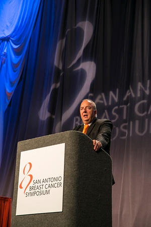 San Antonio, TX -SABCS 2013 San Antonio Breast Cancer Symposium: Michael Gnant, MD, FACS discusses delivers the Plenary Lecture 2 at the 2013 San Antonio Breast Cancer Symposium here today, Thursday December 12, 2013. Over 7500 physicians, researchers, patient advocates and healthcare professionals from over 90 countries attended the meeting which features the latest research on breast cancer treatment and prevention.<br /> Photo by © SABCS/Todd Buchanan 2013 Technical Questions: todd@medmeetingimages.com