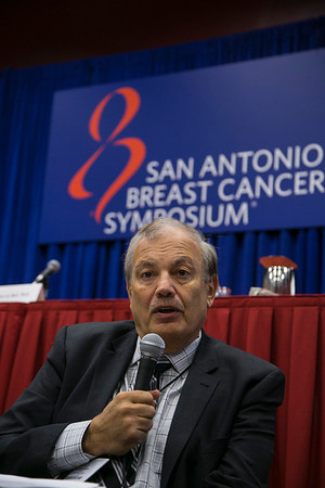 San Antonio, TX -SABCS 2013 San Antonio Breast Cancer Symposium: Dennis J. Slamon, M.D., Ph.D.,  addresses a Press Conference at the 2013 San Antonio Breast Cancer Symposium here today, Wednesday December 11, 2013. Over 7500 physicians, researchers, patient advocates and healthcare professionals from over 90 countries attended the meeting which features the latest research on breast cancer treatment and prevention.<br /> Photo by © SABCS/Todd Buchanan 2013 Technical Questions: todd@medmeetingimages.com